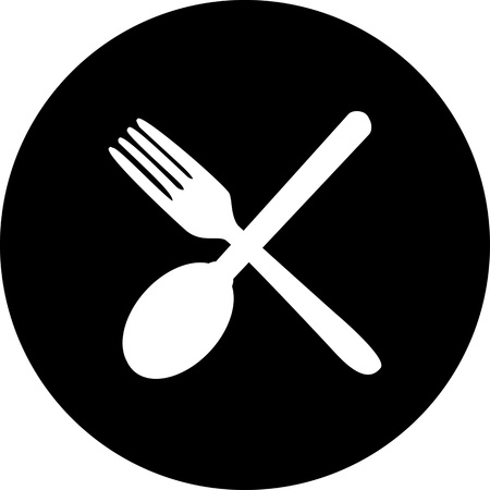 Cutlery icons. Fork, knife and spoon silhouettes . photo