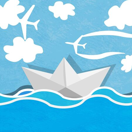 Paper boat on a background of ocean blue and cloudy sky with planes  photo