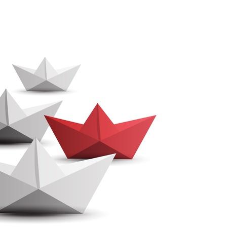 winner red paper ship Banque d'images