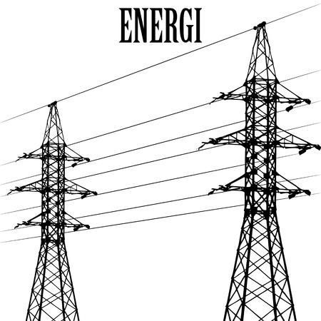 High voltage power pole line vector Stock Photo - 17397217