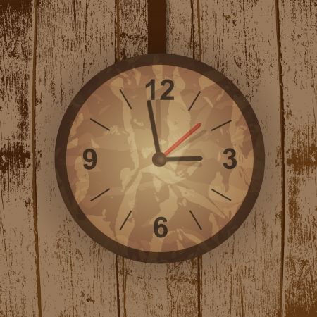 Vector grunge tree background with a clock photo