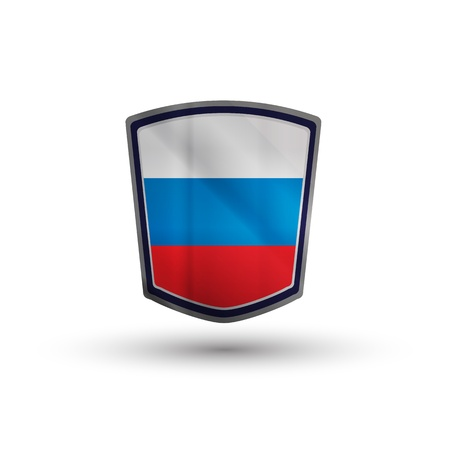 Russia flag on metal shiny shield vector illustration. illustration