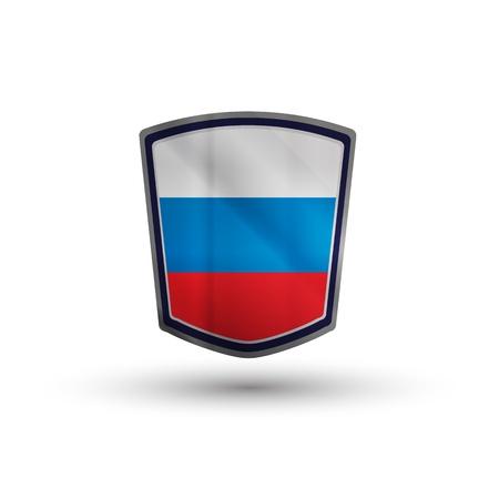 Russia flag on metal shiny shield vector illustration. Stock Illustration - 17396913