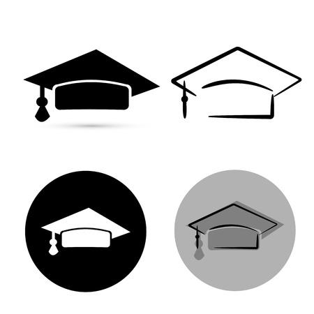fondo de graduacion: sombrero de graduado negro aislado sobre fondo blanco. vector Foto de archivo