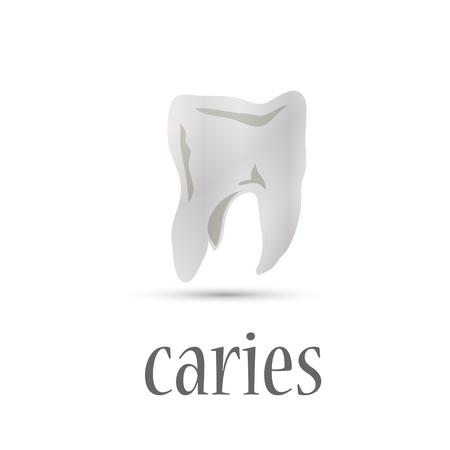 diente caries: dientes blancos manchados caries. vector Vectores
