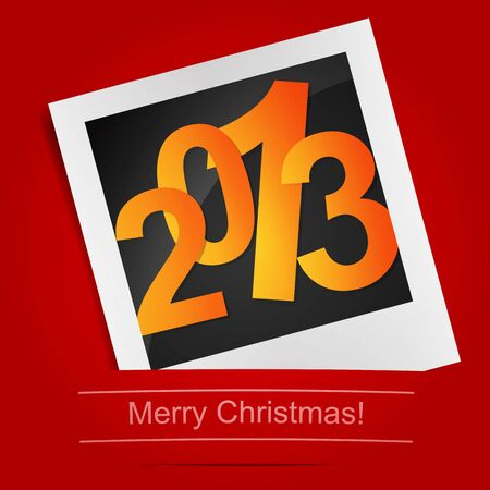 Merry Christmas photo frame on the red background. Vector illustration Vector