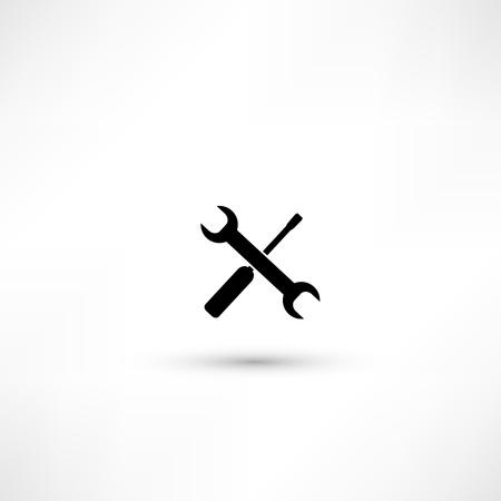 Wrench and screwdriver. Repair workshop emblem - vector illustration Stock Vector - 17397936