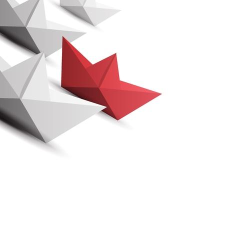 paper boat: winner red paper ship Illustration
