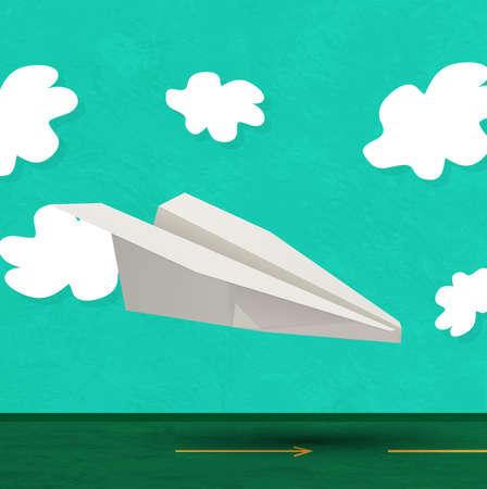 vector paper aircraft landing Stock Vector - 17398185