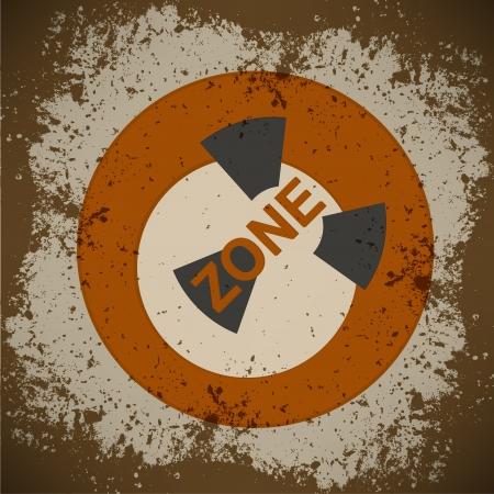 barrel radioactive waste: nuclear warning , grungy radiation sign