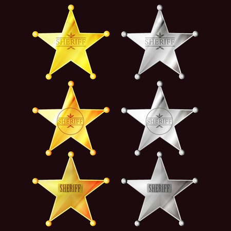 set of stars sheriff signs Vector