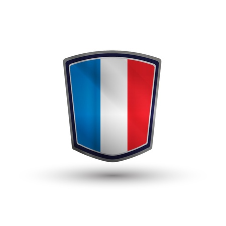 France flag on metal shiny shield vector illustration Vector