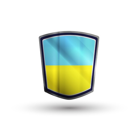 Ukraine flag on metal shiny shield vector illustration. Vector
