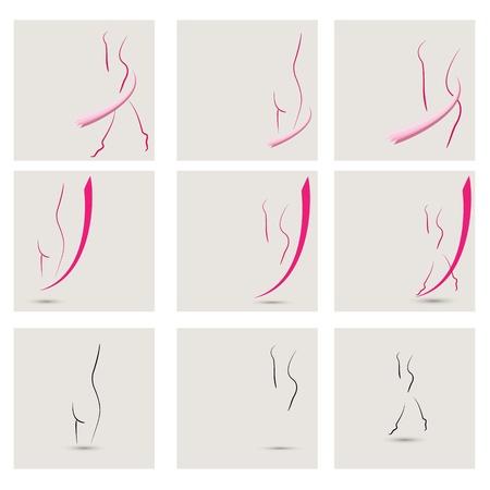 body shape: Vector raccolta di immagini delle ragazze, ideale per centri benessere