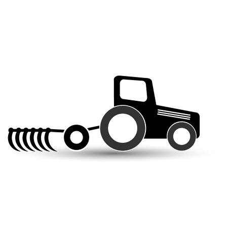 harrow: black tractor with a plow on a white background.