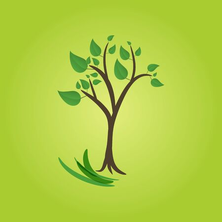 green tree on green background Vector