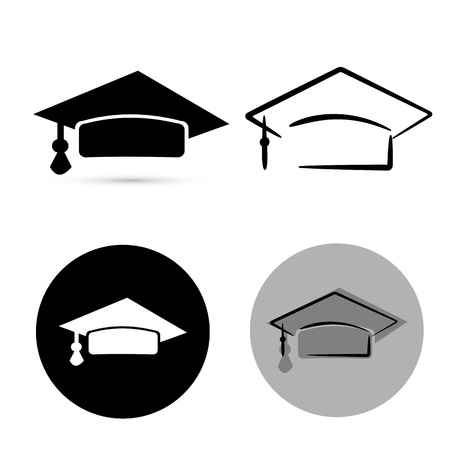 credential: black graduate hat isolated over white background. vector