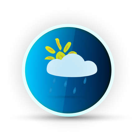 weather blue glossy icon on white background Stock Vector - 17398163