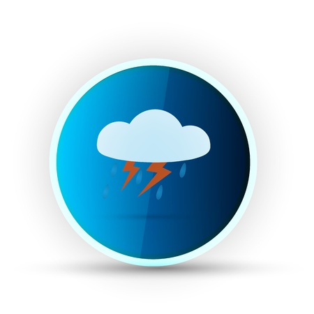 weather blue glossy icon on white background Stock Vector - 17398159