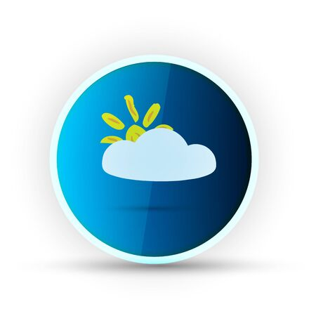 weather blue glossy icon on white background Stock Vector - 17398111