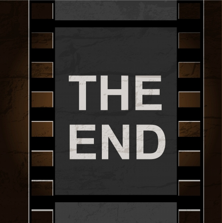 Old filmstrip. Movie ending frame Vector