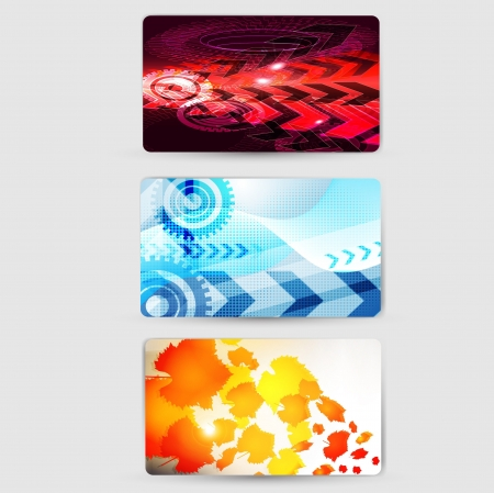 set of abstract colorful wave business card set design Vector