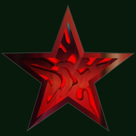hollywood christmas: Red Star Vector Illustration