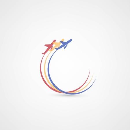 flight steward: airplane symbols Illustration