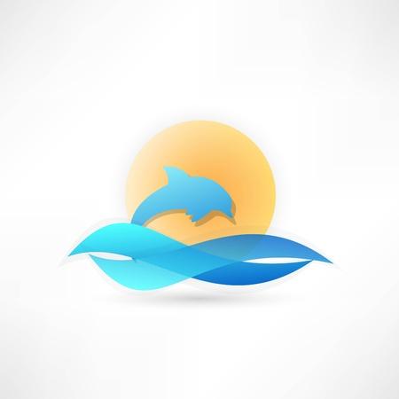 sea horizon: dolphin on background sun icon