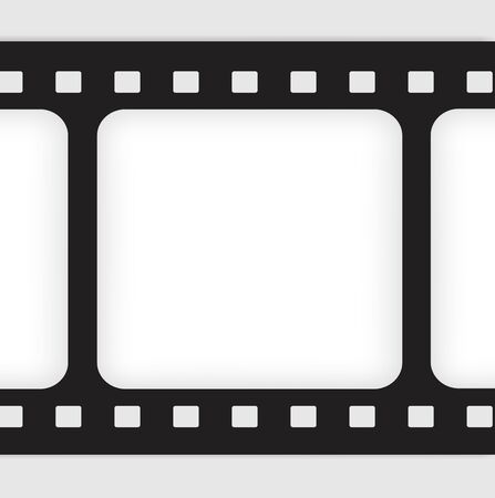 Old filmstrip. Movie ending frame. Vector
