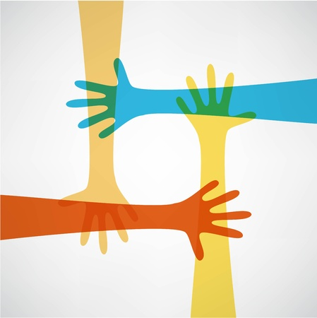 community help: hands connecting