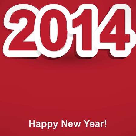 red and white Happy New Year 2014 Illustration