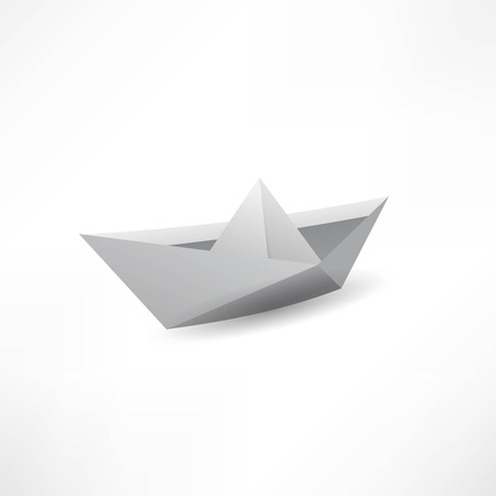 Origami paper ship isolated on white background. Vector