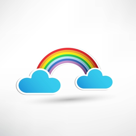 rainbow and clouds in the sky Stock Vector - 21992405