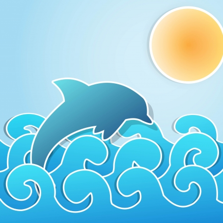Dolphin jumping through waves Illustration