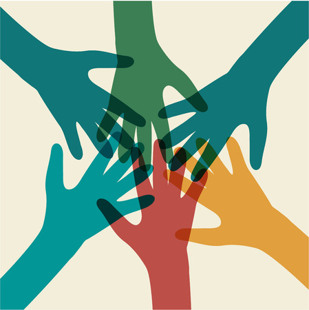 join the team: Team symbol. Multicolored hands