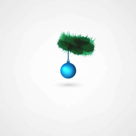 pine branch: Christmas balls hanging on pine branch