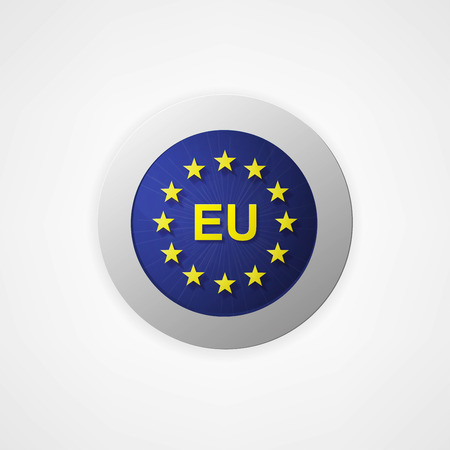 Badge button with European Union Vector
