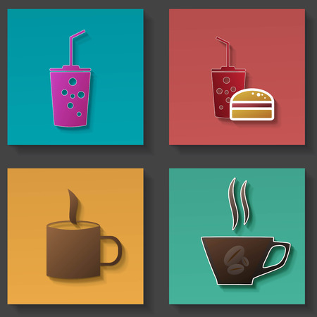 grown with love: Set of icons for food and drink Illustration