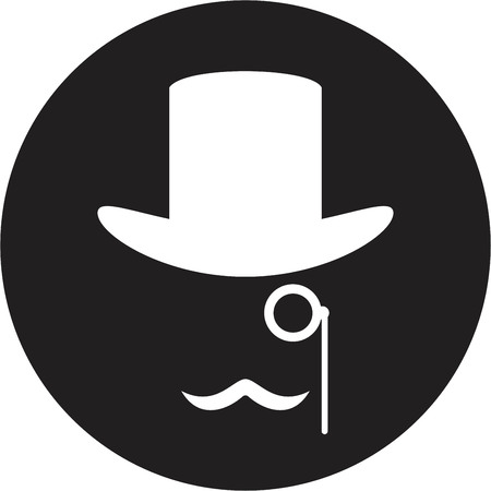 Bowler hat and moustache Illustration
