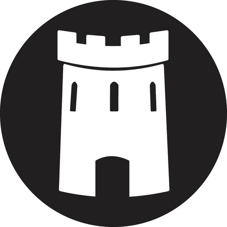 castle silhouette: Medieval castle tower vector icon