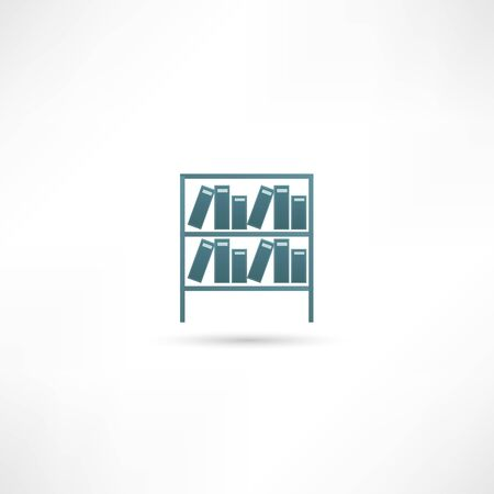 bibliography: Books on the shelves simply retro vector illustration