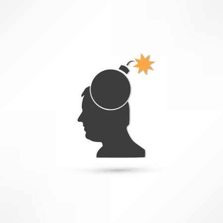 Creative ideas Bomb in Head Illustration on white Vector