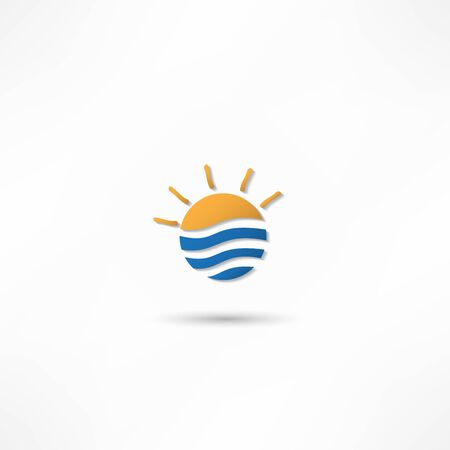 rising sun: las olas del mar y la ilustraci�n vectorial del sol naciente