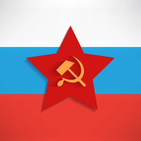 sickle: Communist red star with hammer and sickle on white background