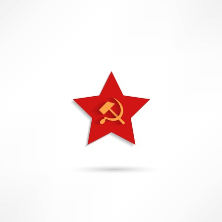 Communist red star with hammer and sickle on white background. Vector