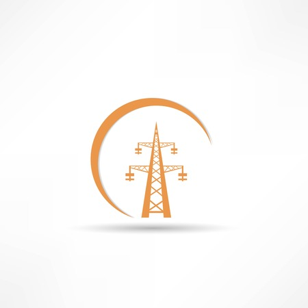 high tension: Power transmission tower icon Illustration