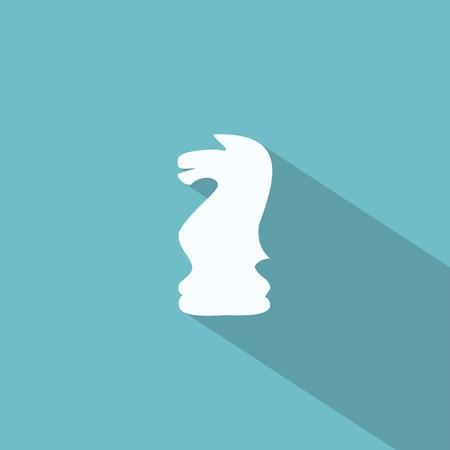 긴 그림자와 함께 체스 기사 아이콘 일러스트