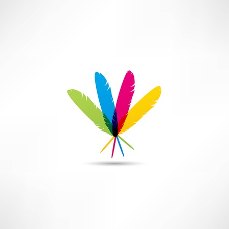 colored feathers icon Vector
