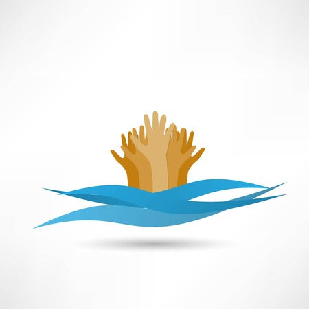 vulnerable: Drowning and reaching out hand for help